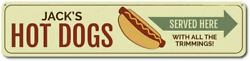 Personalized Hot Dogs Arrow Served Here Grill Name Kitchen Metal Wall Decor