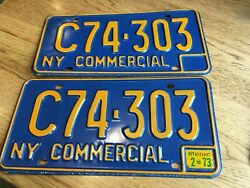 New York License Plates 1973 Blue And Yellow 1973 Sticker Mint