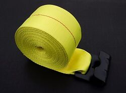 50 4 X 30and039 Flat Hook Winch Straps Flatbed Truck Trailer Tie Down Strap Yellow