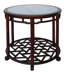 Chinese Oriental Brown Round Marble Stone Top Pedestal Table Cs2119