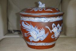 Rare Chinese Antique Terracotta Redware Pot And Lid Cover Black And White Painted