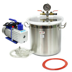 5 Gallon Stainless Steel Vacuum Degassing Chamber Silicone Kit W/5 Cfm Pump Hose