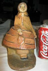 Antique 296 Hubley Usa Toy Co. Cast Iron School Girl Purse Art Statue Doorstop