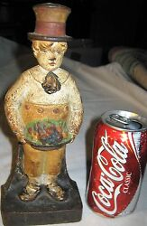 Antique Cjo Judd Usa Cast Iron School Boy W/ Top Hat Fruit Platter Toy Doorstop