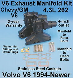 Volvo Sx Cobra 4.3l V6 Exhaust Manifold And Elbow Kit 1994-up 3863061 3847499