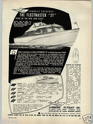 1956 Paper Ad Lawence Plycraft Motor Boat 21' Fleetmaster 17' Admiral 21 Captain