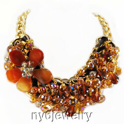 Trendy Sienna Crystal Cluster And Agate Flower Necklace W/gold Tone Clasp 16-19