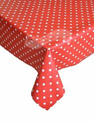 Pvc Vinyl Tablecloth By The Metre 140cm Wide Polka Dot Design Many Colours
