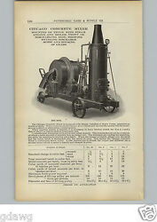1910 Paper Ad 2 Sided United Concrete Mixer Chicago Steam Gas Gasoline Motor