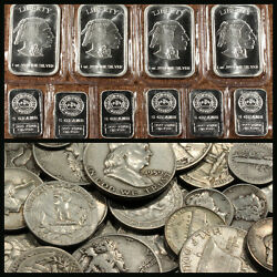 Old U.s. Silver Coins One Full Troy Pound Mixed Lot Pre-1964 + .999 Bonus Bars