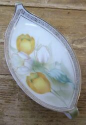 Rs Prussia Yellow Tulip Flower Celery Relish Tray Plate Dish Floral Germany