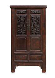 Chinese Distressed Brown Floral Motif Open Panel Storage Cabinet Cs2237