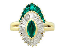 Vintage 0.67 Ct Emerald and 0.93 Ct Diamond 18k Yellow Gold Dress Ring Size 6