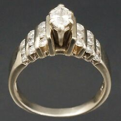 Modern Solid 14k White Gold Marquise Cut Diamond Wedding Engagement Ring