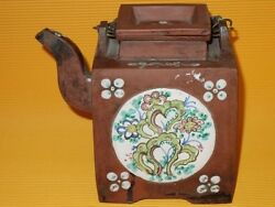 Antique Yixing Terracotta Clay Chinese Teapot And Lid Pottery Redware Signed