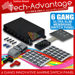 12V WATERPROOF 6 GANG LED TOUCH MEMBRANE SWITCH PANEL - BOATCARAVANMARINE