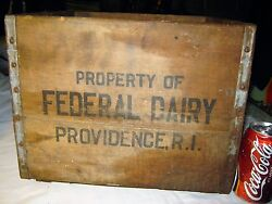 Antique Federal Dairy Providence Ri Usa Milk Wood Box Crate Advertising Art Sign