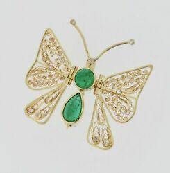 18k Yellow Gold Emerald Diamond Butterfly Pin Brooch Custom Made Moveable Wings