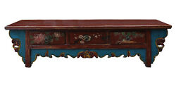 Chinese Vintage Floral Graphic Low Altar Shrine Offer Table cs2348