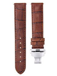 19mm Leather Watch Strap Band Clasp For Breitling Pilot Watch L/brown T/quality
