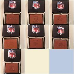Nfl Team Embossed Brown Leather Tri Fold Wallet Pick Your Team