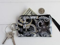 ID Wallet with Zippered Card Holder for Women Black Gold Grey Paisley Fabric.