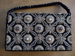Stunning Vintage Jeweled Gold Thread Black Evening Bag w Belt excellent cond