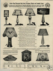 1924 Paper Ad Parchment Paper Lamp Shade Hand Decorated Painted Table Placque