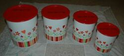 Tupperware One Touch Flower Canister Set Of Four - Red White
