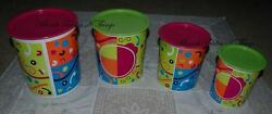Four Piece Tupperware Retro Style Bright One Touch Canister Set Pink