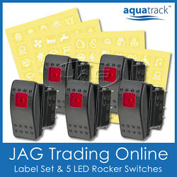 Labels And 5x Red Led Rocker Switch Carling/arb/narva-style-boat/4x4/truck 12v24v