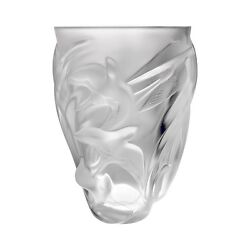 New Lalique Martinets Vase Crystal Brand New In Box 1230800 France Save F/sh