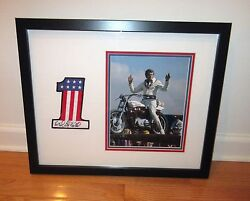 Evel Knievel Signed Framed 1 Patch Harley Davidson Motorcycle Asi Proof
