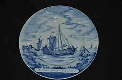 Antique Museum Quality 1760and039 Delft Ceramic Pottery Cabinet Plate Old Dutch Ship