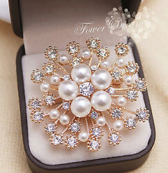 Fashion Woman Crystal Snowflake Pins Brooches Luxury Pearl Pin Corsage Jewelry