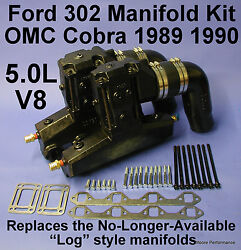 Ford 302 5.0l V8 Omc Exhaust Manifold Kit 1989-90 Replaces 913682 913683 909863