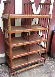 Antique Primitive Country Usa Wood Shoe Book Art Stand Rack Shelf Wheel Cart Ny