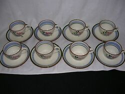 Set Of 8 Cups And Saucers -stangl Fruit And Flowers China- Made In Trenton Nj