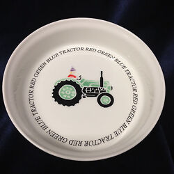 Queenand039s China Rosina Farm Green Tractor Bowl 6 3/4 Childs Writing