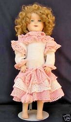 Vintage Shirley Temple Reproduction Porcelain Ceramic Doll 24 Laura 1985 W/wig