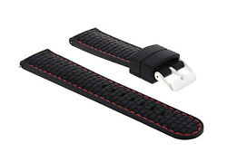 NEW 24MM RUBBER STRAP BAND FOR FOSSIL WATCH BLACK RED STITCH