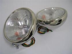 1932 Ford Stainless Headlights 32 Ford W/ Turn Signals 10 Deuce Lights Nice