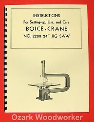 Boice Crane 2200 24 Jig/scroll Saw Instructions And Part Manual 0066