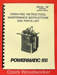 Powermatic 26 Shaper Instructions And Part Owner's Manual 0549