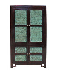 Chinese Distressed Turquoise Brown Large Armoire Warbrobe Cabinet Cs2708