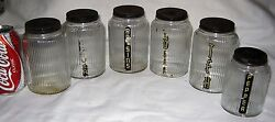 Antique Country Set Of 6 Ribbed Art Glass Hoosier Canister Storage Holder Jars
