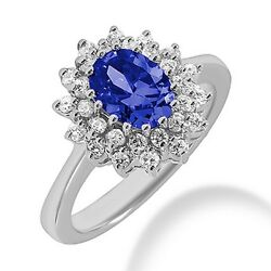 2.24ct Tanzanite And Diamond Halo Engagement Cocktail Ring 14k White Gold Cluster