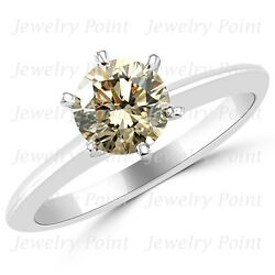 1ct Vs2 Champagne Brown Diamond Solitaire Engagement Bridal Ring 14k White Gold