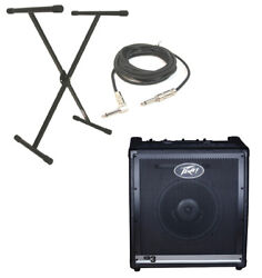 Peavey Kb3 Keyboard Combo 60w Amp 12 Speaker X Brace Stand 1/4 Cable Package