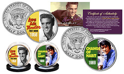 Elvis Presley First And Last Movies Kennedy Half Dollar Us 2-coin Set Licensed